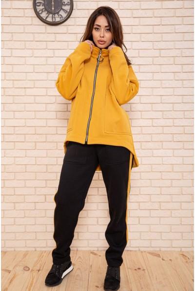 Спорт костюм женский  на флисе 102R5065 цвет Горчично-черный
