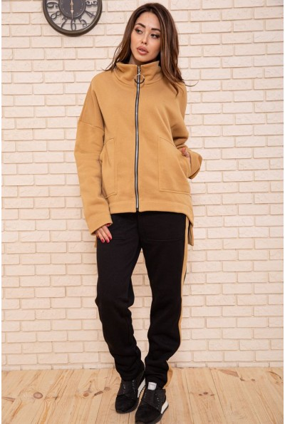 Спорт костюм женский  на флисе 102R5065 цвет Коричнево-черный