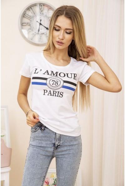 Белая легкая летняя женская футболка с надписью 119R031