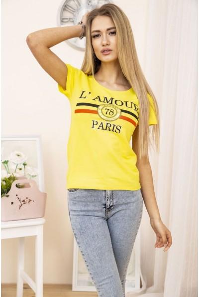 Желтая летняя женская футболка с принтом 119R031 19108