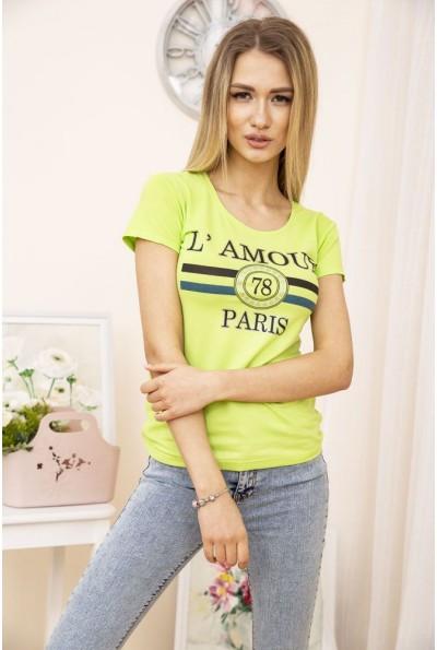 Стильная женская летняя футболка салатового цвета с круглым вырезом 119R031
