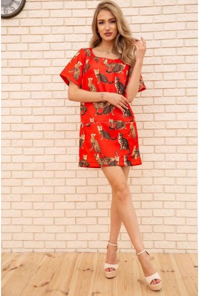 Платье свободного кроя с кошками и карманами цвет Красный 167R1638 56186