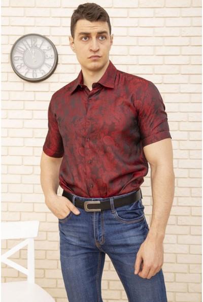Бордовая мужская рубашка с принтом вензеля 113RPass005 9843