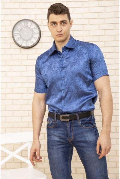 Нарядная мужская рубашка синяя с короткими рукавами 113RPass005 9847