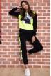Спорт костюм женский  на флисе  цвет черно-желтый 167R613-1 недорого