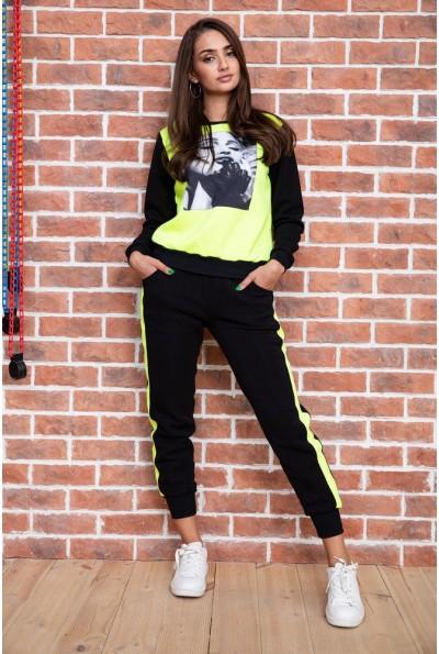 Спорт костюм женский  на флисе  цвет черно-желтый 167R613-1 65710