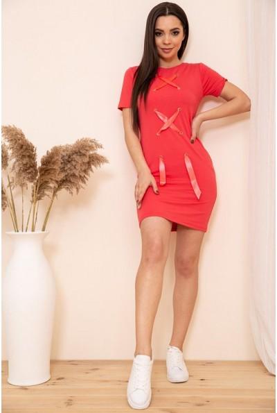 Короткое платье в спортивном стиле цвет Коралловый 167R11-1 54125