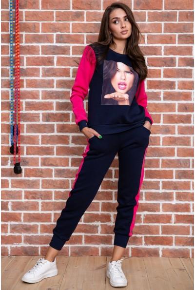 Спорт костюм женский  на флисе  цвет сине-розовый 167R613-1 65706