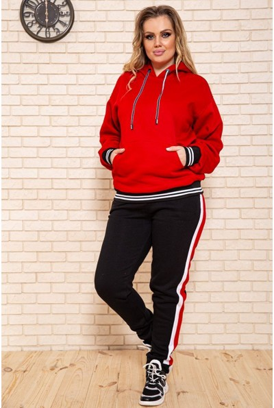 Спортивный костюм женский, батал 102R5069 цвет Красно-черный