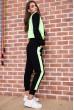 Спорт костюм женский  на флисе  цвет черно-салатовый 167R613-1 скидка
