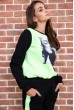 Спорт костюм женский  на флисе  цвет черно-салатовый 167R613-1 продажа