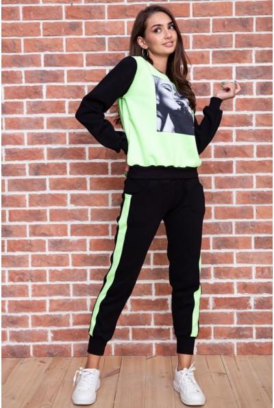 Спорт костюм женский  на флисе  цвет черно-салатовый 167R613-1 65712