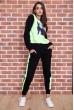 Спорт костюм женский  на флисе  цвет черно-салатовый 167R613-1 недорого