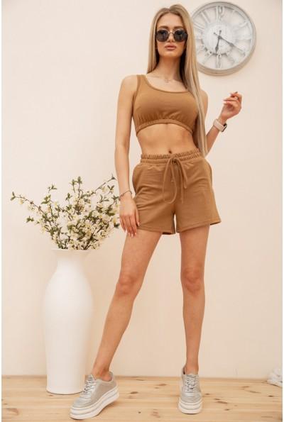 Повседневный женский костюм короткий топ и шорты цвет Коричневый 119R397 56763