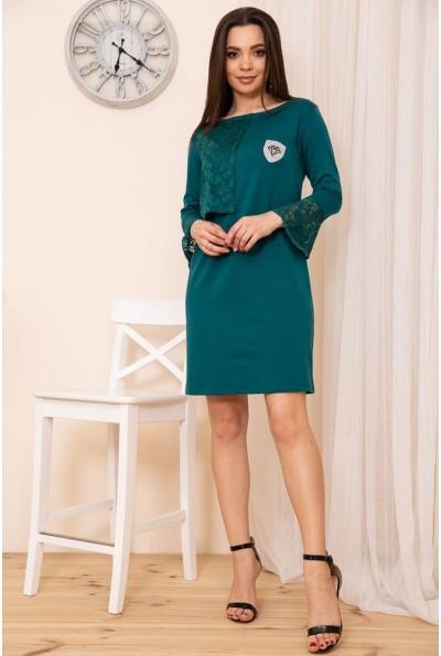 Платье свободного кроя с гипюровой отделкой цвет Зеленый 167R8-3