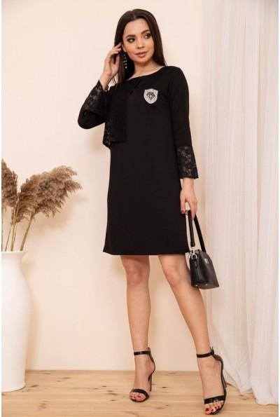 Платье свободного кроя с гипюровой отделкой цвет Черный 167R8-3 54455