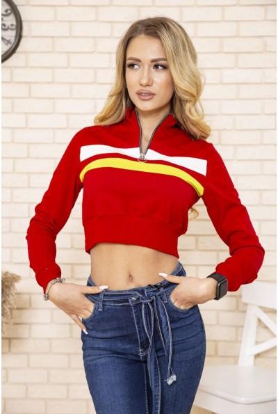 Укороченный женский свитшот олимпийка на молнии цвет Красный 119R494 49800