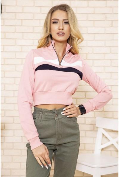 Укороченный женский свитшот олимпийка на молнии цвет Розовый 119R494 49802