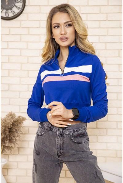 Укороченный женский свитшот олимпийка на молнии цвет Синий 119R494 49804