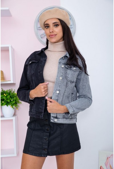 Джинсовая куртка двуцветная женская  цвет черно-серый 164R905 66960