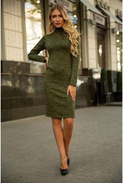 Трикотажное платье-футляр цвета темный хаки 153R1082