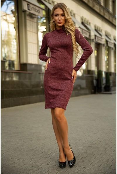 Бордовое приталенное платье 153R1082 39586