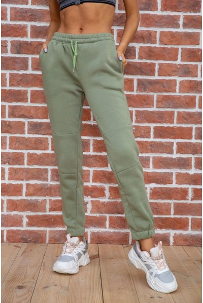 Спорт штаны женские на флисе   цвет оливковый 182R012 67431