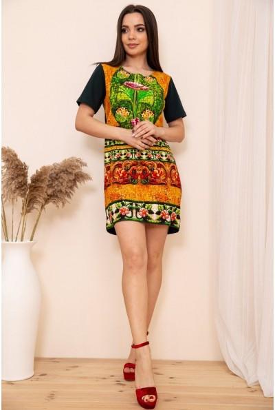 Прямое мини платье с короткими рукавами и орнаментом 167R41-1