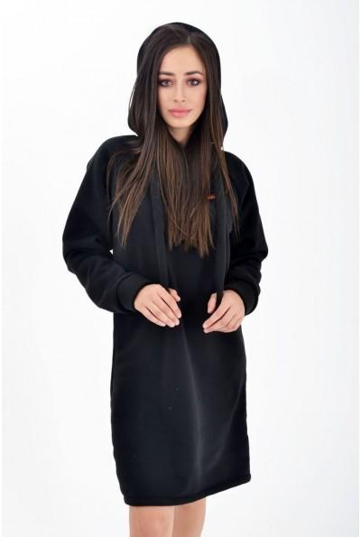 Черная туника женская теплая, на флисе, с капюшоном 112R006-456 Черный