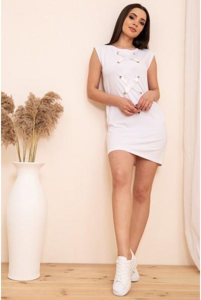 Короткое платье в спортивном стиле без рукавов цвет Белый 167R22-2