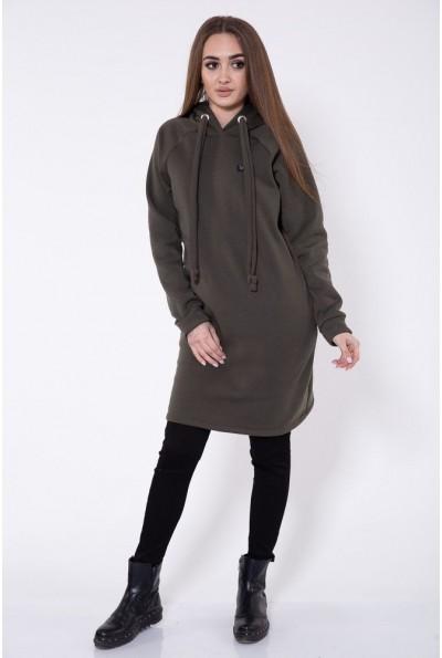 Туника женская теплая, на флисе с копюшоном оливкового цвета 112R006-456