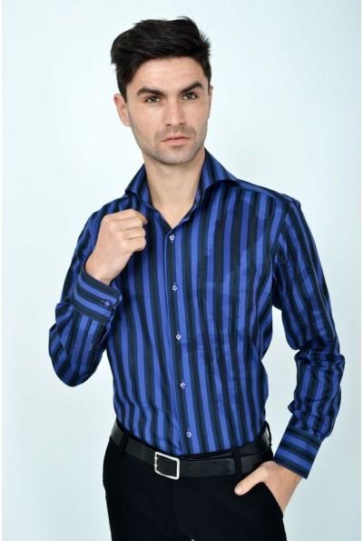 Стильная рубашкафиолетово-черная полоска 113RPia26