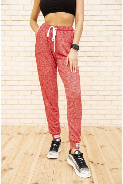 Спортивные женские штаны красного цвета 129R1420-5