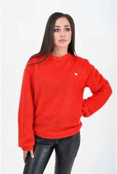 Красный однотонный женский свитер 112R002-440
