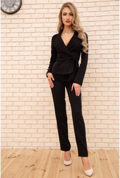 Женский костюм пиджак с поясом и брюки цвет Черный 167R1606 56272