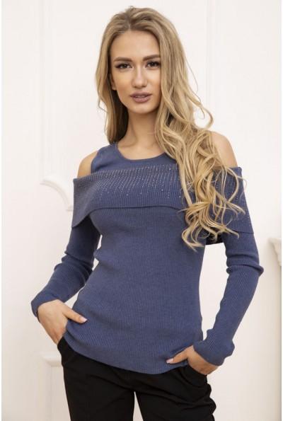 Свитер женский с открытыми плечами цвет Синий 131R3034 53206