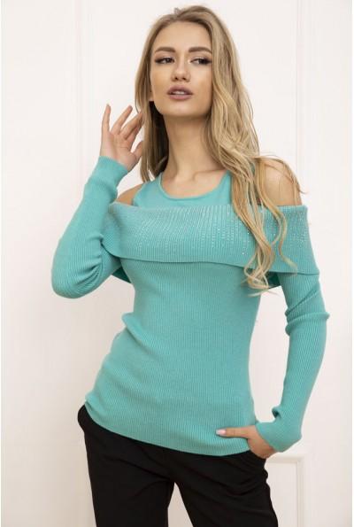 Свитер женский с открытыми плечами цвет Голубой 131R3034