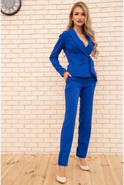 Женский костюм пиджак с поясом и брюки цвет Синий 167R1606