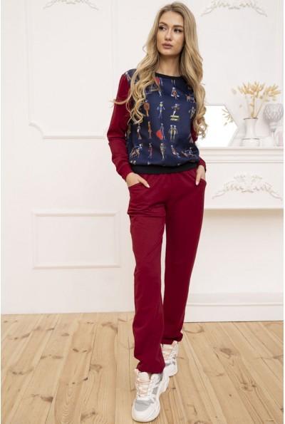 Женский прогулочный костюм двунитка Свитшот и штаны Бордовый 167R33-2