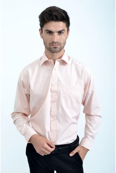 Рубашка мужская персиковая однотонная 818-91