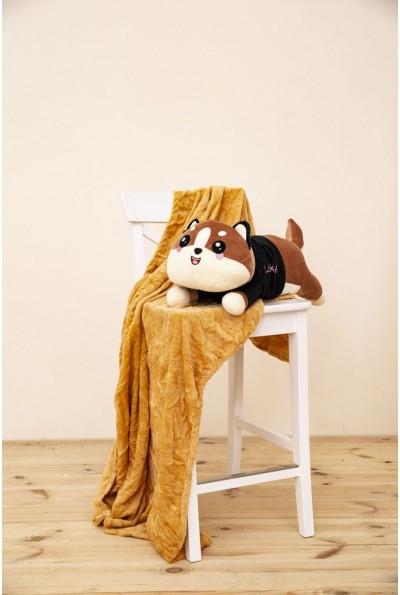 Игрушка-плед и подушка светло-коричневого цвета 154R101