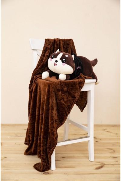 Игрушка-плед и подушка коричневого цвета 154R101