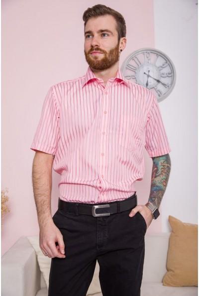 Розовая рубашка мужская с короткими рукавами 869-4