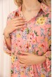 Женская рубашка из вискозы с цветочным принтом Персиковая 172R26-1 скидка