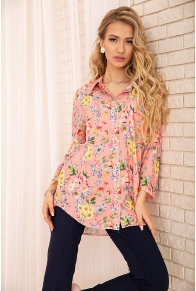 Женская рубашка из вискозы с цветочным принтом Персиковая 172R26-1 55707