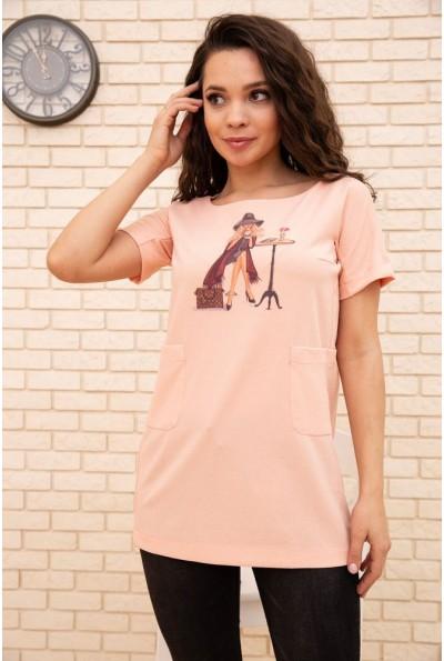 Туника женская 167R1593-1 цвет Персиковый