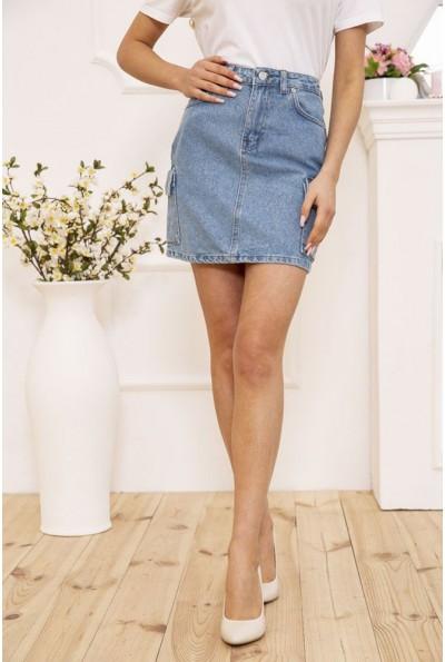 Юбка женская джинсовая мини с боковыми карманами цвет Голубой 129R2089