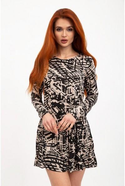 Черно-бежевое платье-туника с принтом 103R095