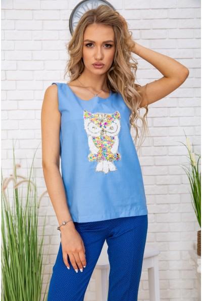 Майка женcкая с пайетками 172R203 цвет Голубой 57179