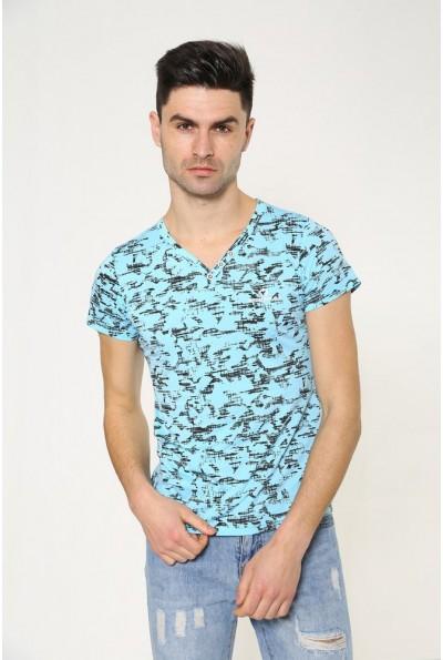 Повседневная мужская футболка голубого цвета 119R034